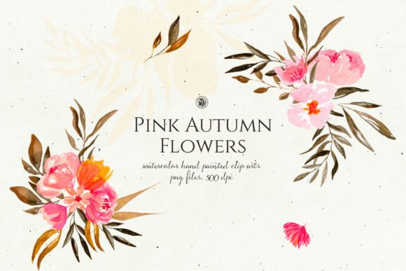 Pink Autumn Flowers Vol. 2 Graphic Illustrations By webvilla