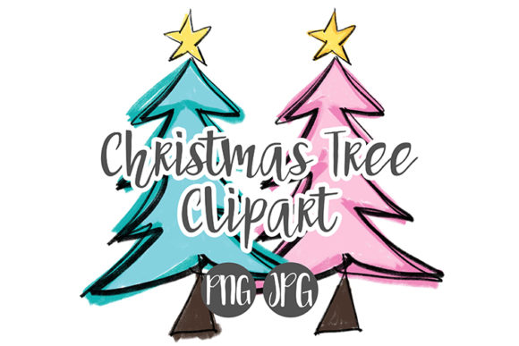Christmas tree blue. Pink clipart