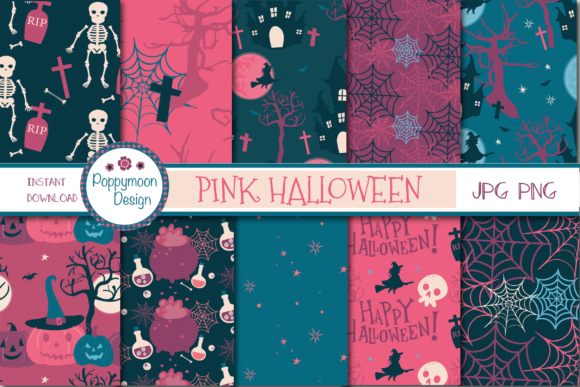 Print on Demand: Pink Halloween Paper Graphic Illustrations By poppymoondesign