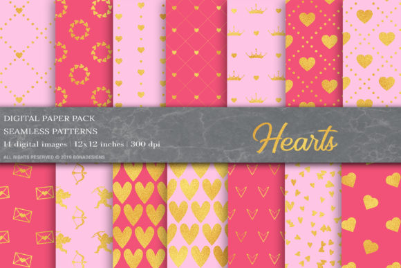 Pink Love Valentines Day Digital Papers Graphic Patterns By BonaDesigns