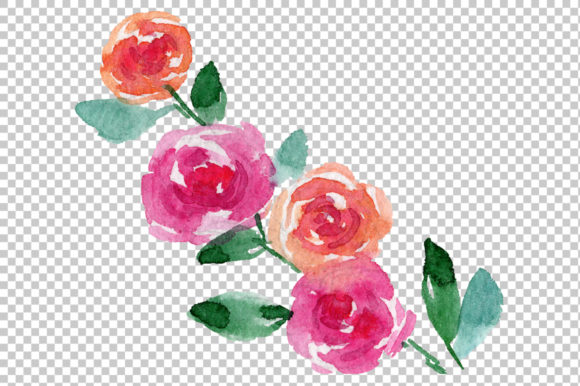 Print on Demand: Pink Rose Strength of Love Watercolor Graphic Illustrations By MyStocks - Image 4