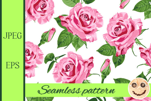 Print on Demand: Pink Roses and Leaves Seamless Pattern Graphic Patterns By TasiPas