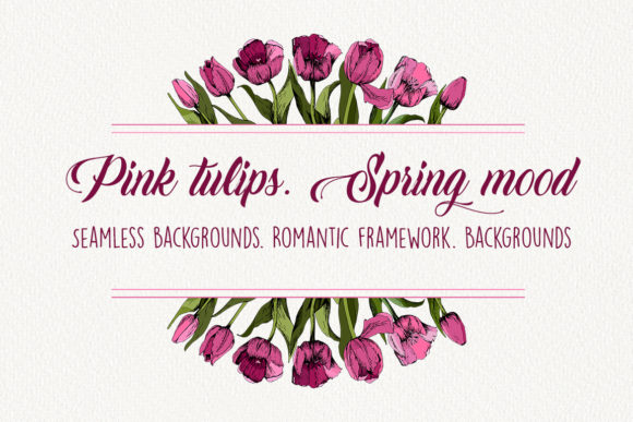 Download Free Pink Tulips Spring Mood Graphic By Natika Art Creative Fabrica for Cricut Explore, Silhouette and other cutting machines.