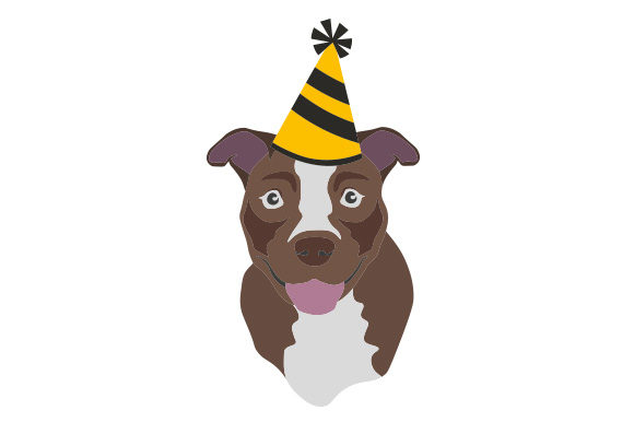 Pitbull Wearing Party Hat Dogs Craft Cut File By Creative Fabrica Crafts