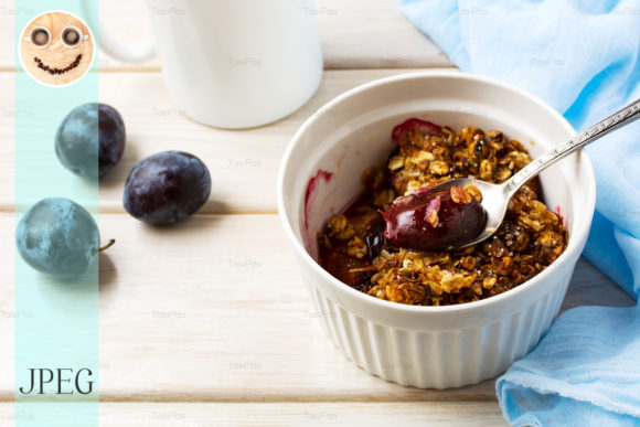 Print on Demand: Plum Granola in the White Baking Ceramic Graphic Food & Drinks By TasiPas