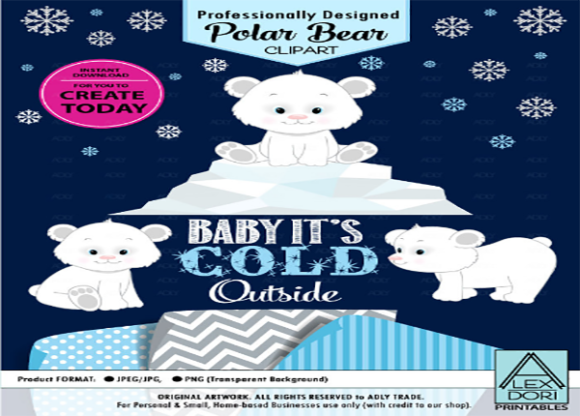 Print on Demand: Polar Bear Clip Art, Winter, Cold,snowfl Graphic Illustrations By adlydigital - Image 1