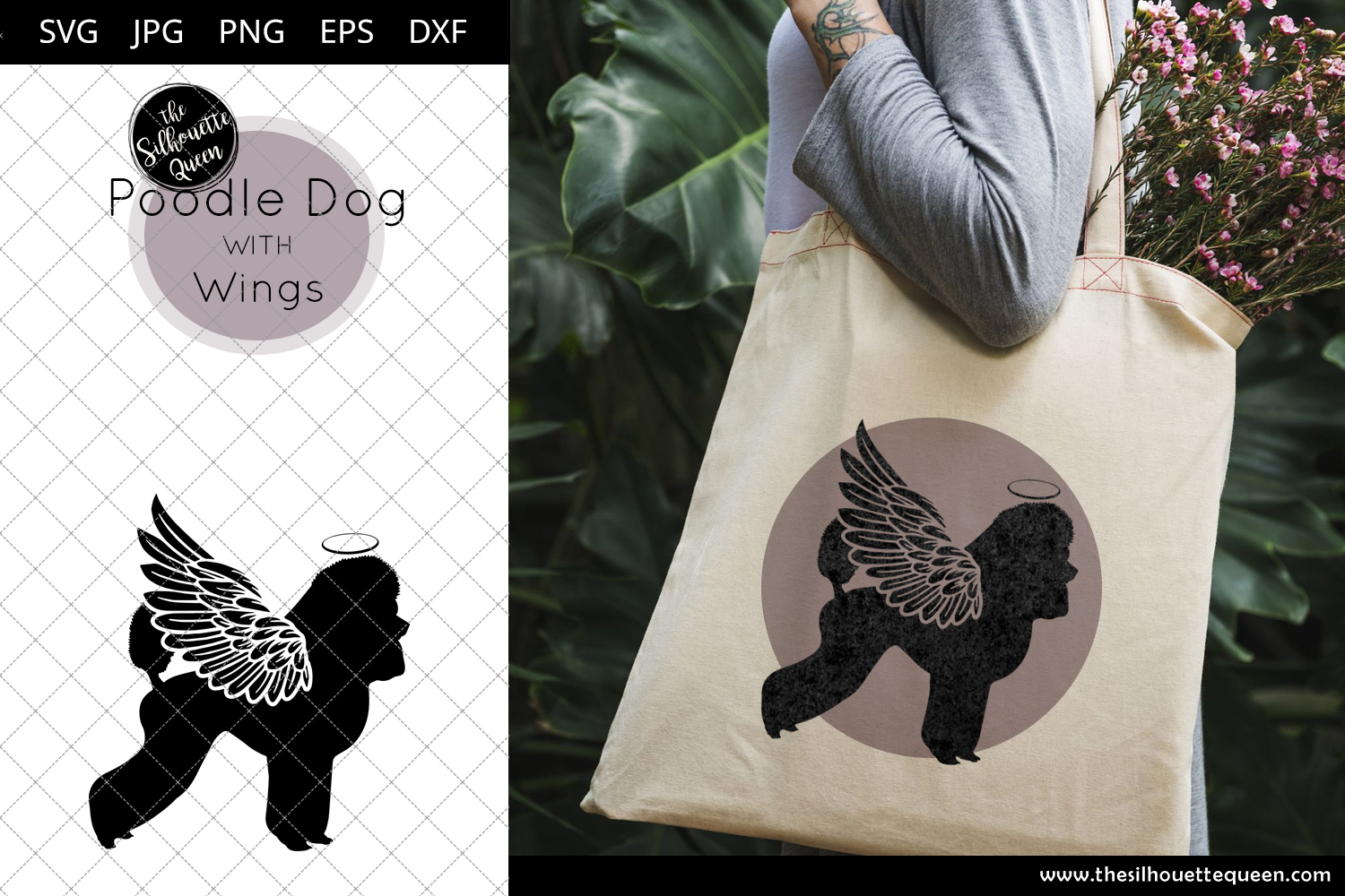 Download Free Poodle Dog 2 With Wings Graphic By Thesilhouettequeenshop for Cricut Explore, Silhouette and other cutting machines.