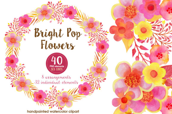 Print on Demand: Pop Watercolor Flowers Pink & Orange Graphic Illustrations By SLS Lines