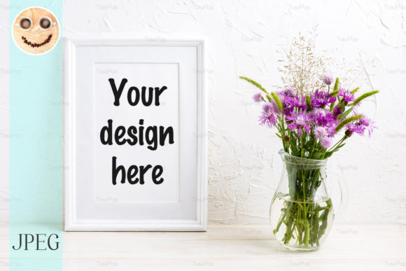Print on Demand: Poster Frame Mockup with Purple Burdock Graphic Product Mockups By TasiPas