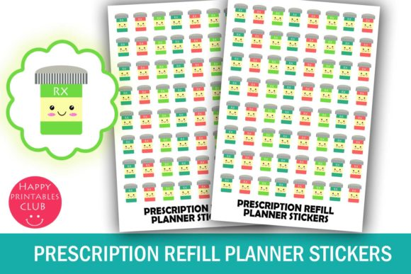 Print on Demand: Prescription Refill Planner Stickers Graphic Crafts By Happy Printables Club - Image 1