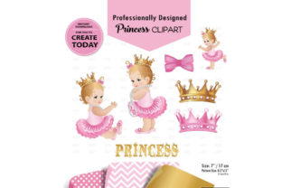 Princess Baby Girl Clip Art  Pink Gold Graphic By adlydigital