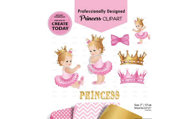 Download Free Princess Baby Girl Clip Art Pink Gold Graphic By Adlydigital for Cricut Explore, Silhouette and other cutting machines.