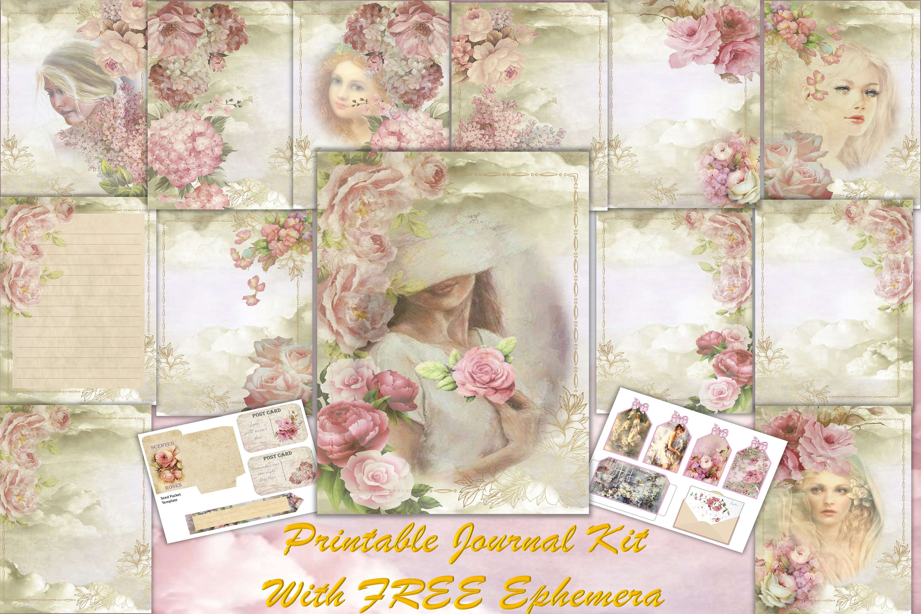 Download Free Printable Backgrounds Journal Kit Graphic By The Paper Princess for Cricut Explore, Silhouette and other cutting machines.