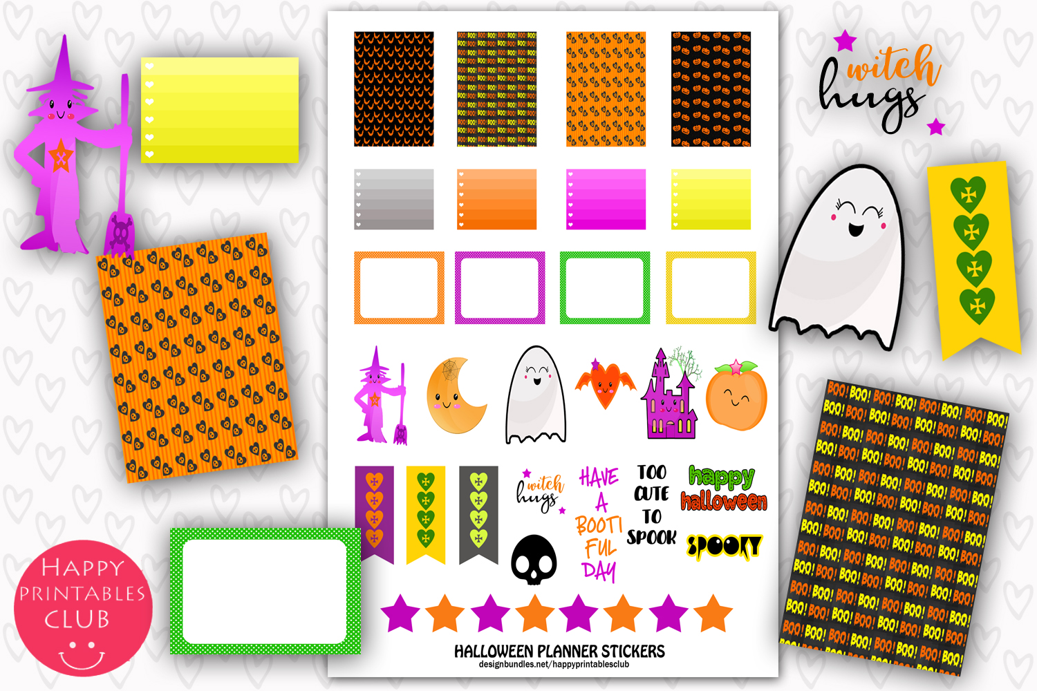 Download Free Printable Halloween Planner Stickers Graphic By Happy Printables for Cricut Explore, Silhouette and other cutting machines.