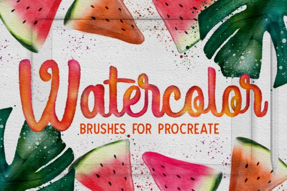 Print on Demand: Procreate Watercolor Brushes Graphic Brushes By arkedbrand