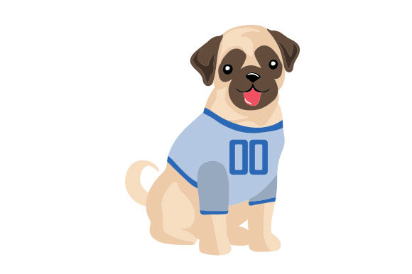 Pug in Football Jersey Dogs Craft Cut File By Creative Fabrica Crafts - Image 1