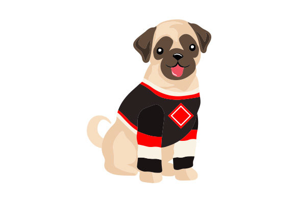 Pug in Hockey Jersey Dogs Craft Cut File By Creative Fabrica Crafts