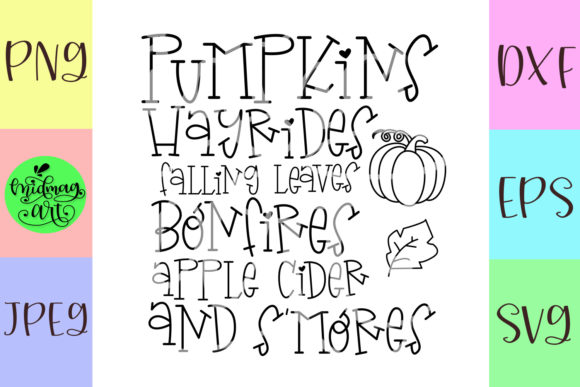 Download Free Pumpkins Hayrides Falling Leaves Bonfire Graphic By Midmagart for Cricut Explore, Silhouette and other cutting machines.