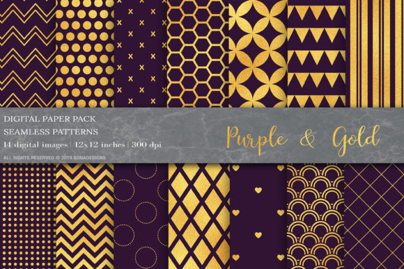 Download Free Purple Gold Geometric Digital Papers Graphic By Bonadesigns for Cricut Explore, Silhouette and other cutting machines.