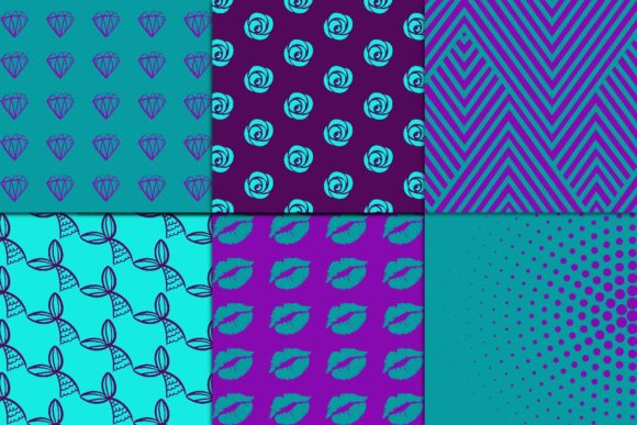 Print on Demand: Purple & Teal Digital Paper Graphic Patterns By fantasycliparts - Image 2
