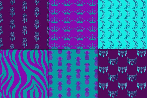 Print on Demand: Purple & Teal Digital Paper Graphic Patterns By fantasycliparts - Image 3