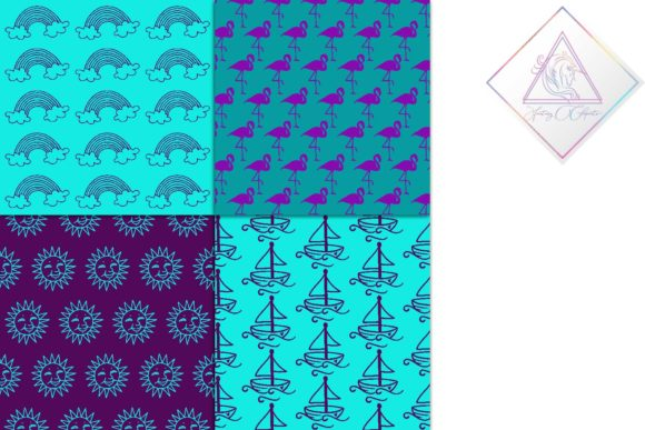 Print on Demand: Purple & Teal Digital Paper Graphic Patterns By fantasycliparts - Image 4