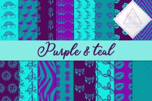 Purple & Teal Digital Paper Graphic By fantasycliparts