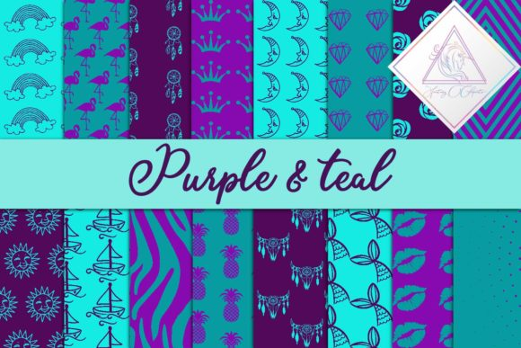 Print on Demand: Purple & Teal Digital Paper Graphic Patterns By fantasycliparts