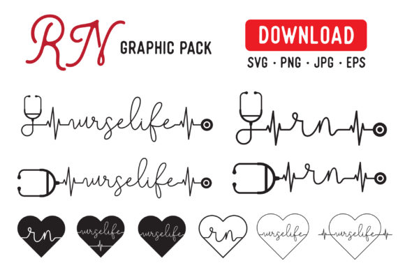 Print on Demand: RN Pack School Nurse Graphic Graphic Illustrations By The Gradient Fox - Image 1