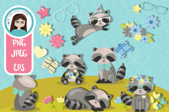 Racoon Cliparts Graphic Illustrations By CuteLittleClipart