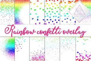 Rainbow Confetti Overlay Clipart Graphic By fantasycliparts