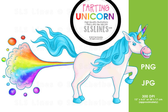 Print on Demand: Rainbow Farting Unicorn Illustration PNG Graphic Illustrations By SLS Lines