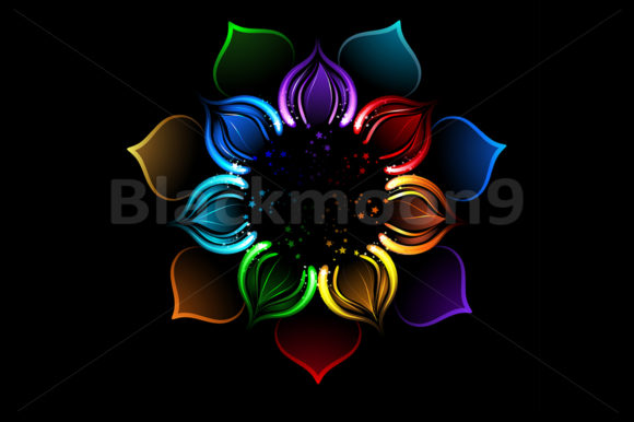 Rainbow Lotus Graphic Illustrations By Blackmoon9