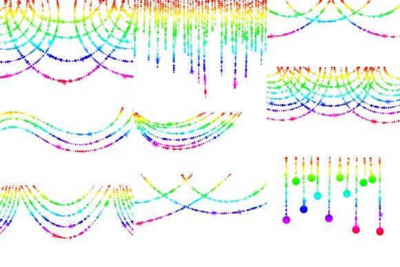 Print on Demand: Rainbow String of Lights Clipart Graphic Illustrations By fantasycliparts - Image 2