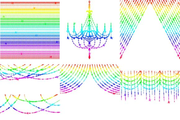 Print on Demand: Rainbow String of Lights Clipart Graphic Illustrations By fantasycliparts - Image 3
