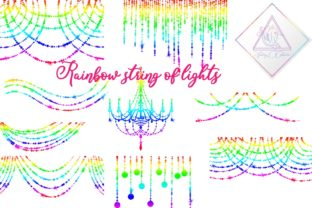 Rainbow String of Lights Clipart Graphic By fantasycliparts