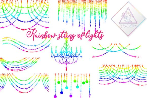 Print on Demand: Rainbow String of Lights Clipart Graphic Illustrations By fantasycliparts - Image 1