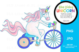 Rainbow Unicorn on a Bicycle Graphic By SLS Lines