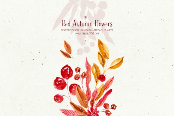 Print on Demand: Red Autumn Flowers Graphic Illustrations By webvilla - Image 2