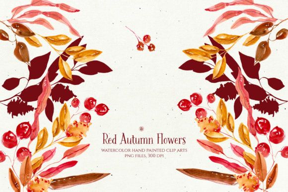 Print on Demand: Red Autumn Flowers Graphic Illustrations By webvilla - Image 3