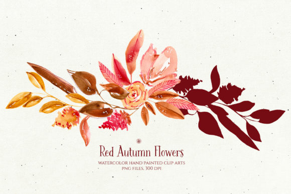 Print on Demand: Red Autumn Flowers Graphic Illustrations By webvilla - Image 4