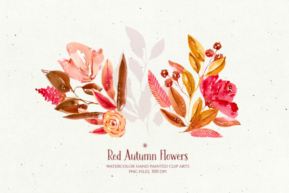 Print on Demand: Red Autumn Flowers Graphic Illustrations By webvilla - Image 5