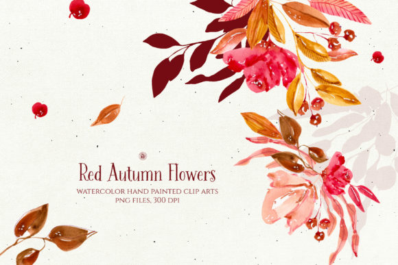 Print on Demand: Red Autumn Flowers Graphic Illustrations By webvilla
