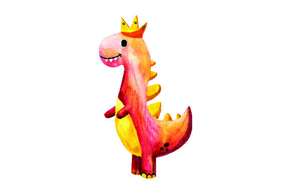 Red Dinosaur with Crown in Watercolor Style Animals Craft Cut File By Creative Fabrica Crafts