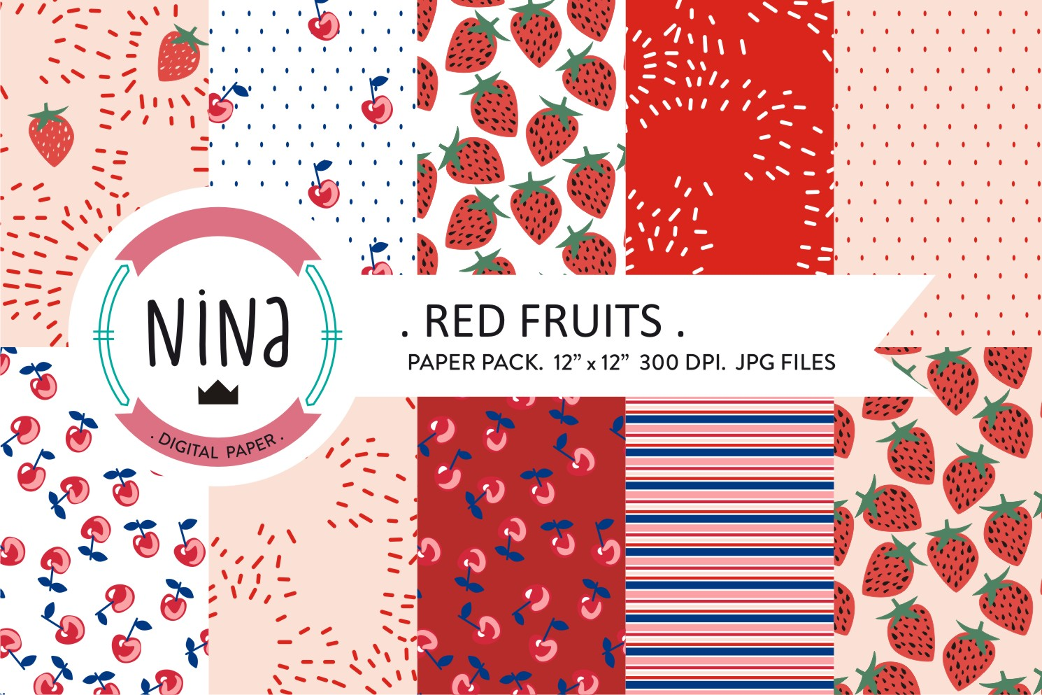 Download Free Red Fruit Digital Paper Pack Graphic By Nina Prints Creative for Cricut Explore, Silhouette and other cutting machines.