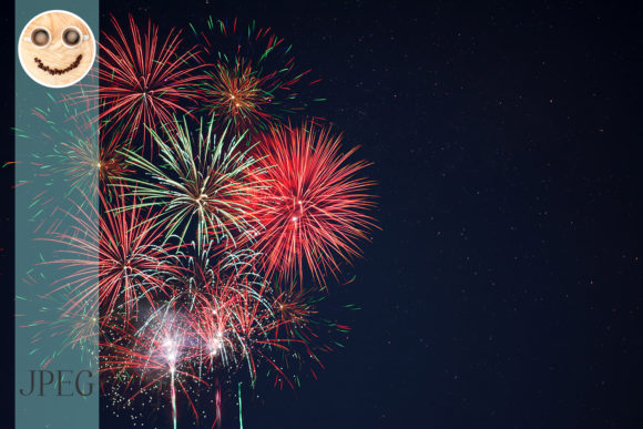Print on Demand: Red Green Yellow Fireworks Graphic Holidays By TasiPas