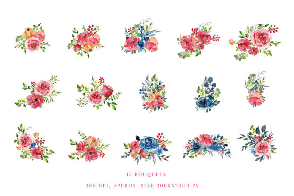 Print on Demand: Red Indigo Flowers Graphic Illustrations By Primafox Design - Image 2