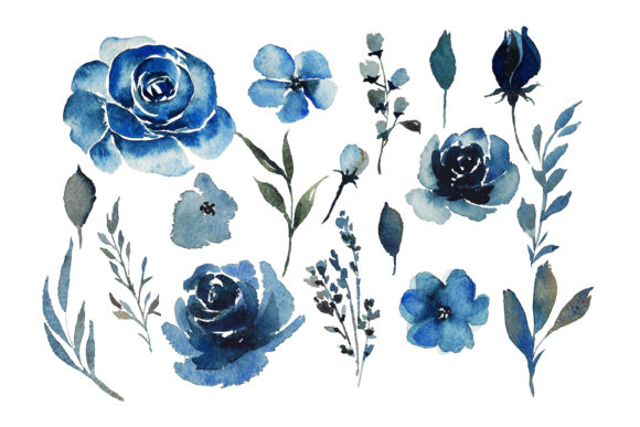 Print on Demand: Red Indigo Flowers Graphic Illustrations By Primafox Design - Image 4