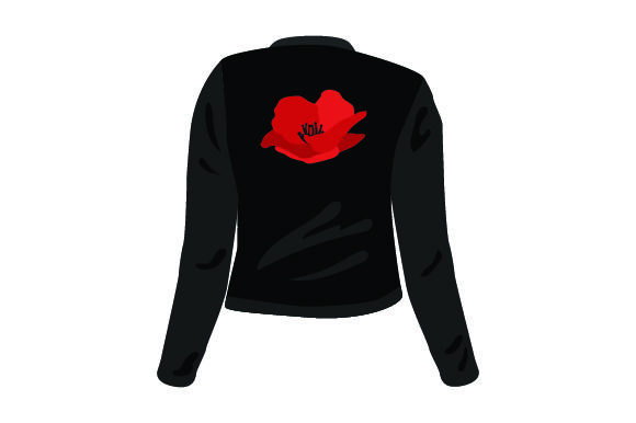 Red Poppy on Black Jacket UK Designs Craft Cut File By Creative Fabrica Crafts