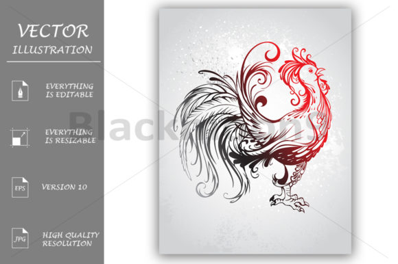 Red Rooster Graphic Illustrations By Blackmoon9